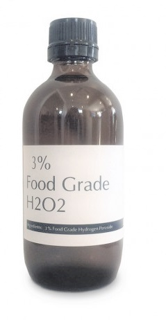 food or technical grade hydrogen peroxide 3% H2O2 to deodorize mouth and tonsils and sterilize accessories