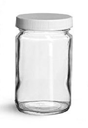 a glass jar is ideal for mixing tonsil and sinus flush solutions while a plastic cap won't corrode